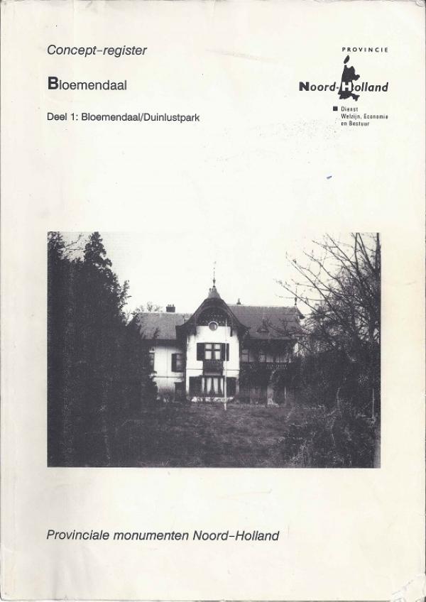 register provinciale monumenten, deel 1: Bloemendaal/Duinlustpark