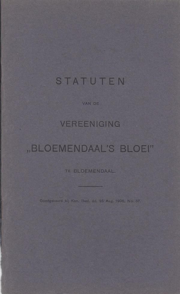 Statuten vereniging Bloemendaal's Bloei